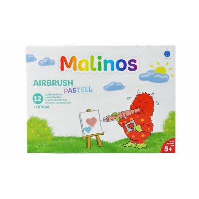Malinos Airbrush Pastell, 12 Stifte und 8 Schablonen