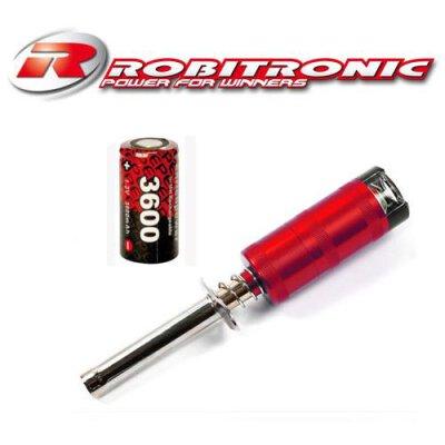 Robitronic Glühkerzenstarter Rot mit Anzeige + 3600mAh NiMH Akku