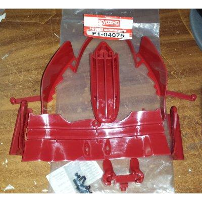 Ferrari F2004, Bauteile komplett der deAgostini Ausgabe 75, Frontflügel (rot) mit Frontflügelträger, Kleinteile